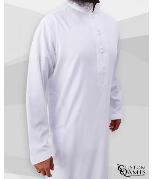 Sultan Thobe Platinium White Stretch Bahraini Collar