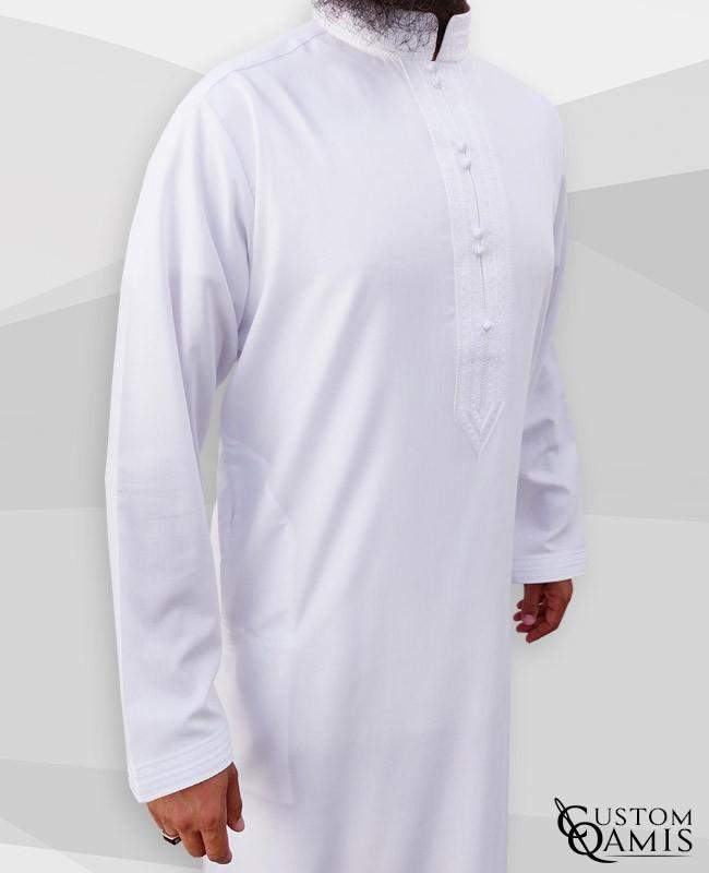 Sultan Thobe Cotton White Stretch Bahraini Collar