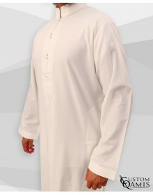 Sultan Thobe Platinium cream Stretch Bahraini Collar