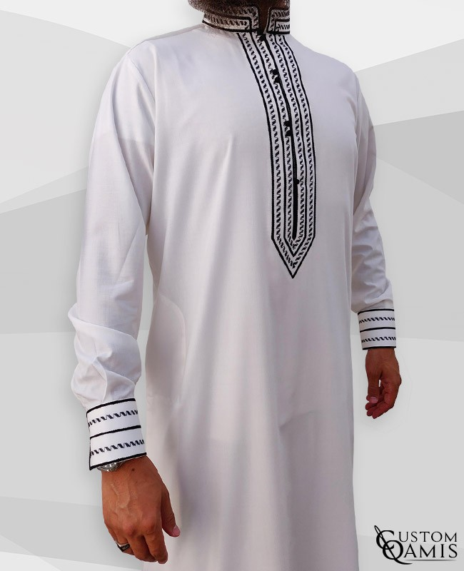 Sultan Thobe Cotton White with enbroidery black