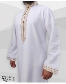 Qamis Sultan Platinium Blanc avec broderie or