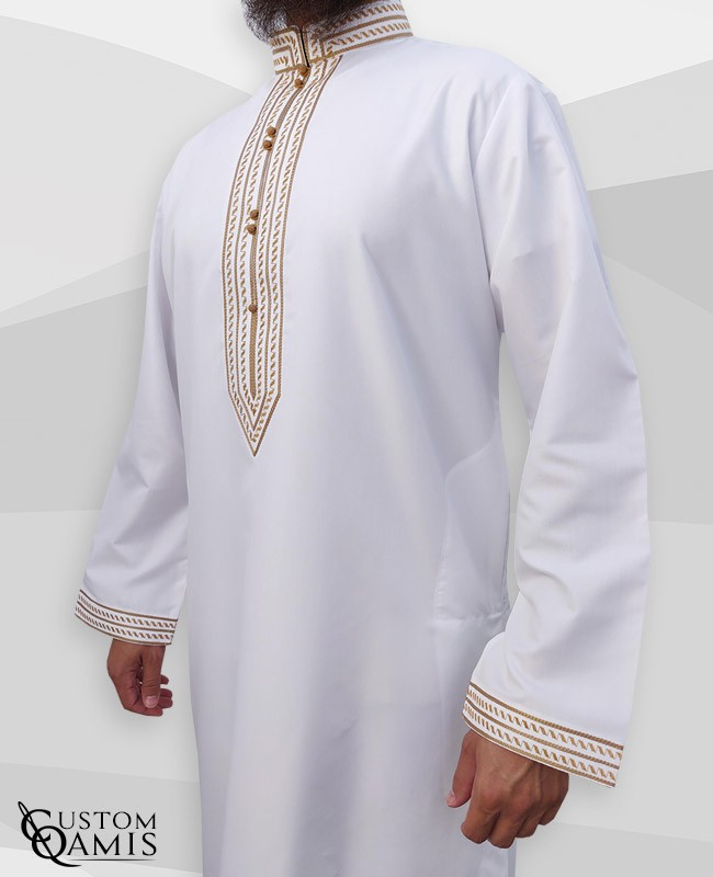 Sultan Thobe Platinum White with gold embroidery gold