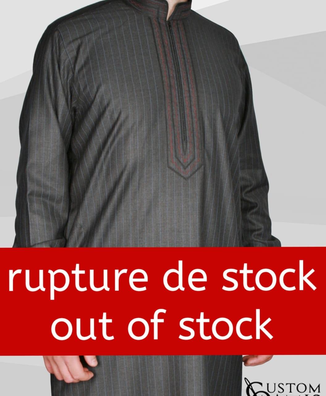 Qamis Sultan Cashmere Wool noir avec rayures bleues et broderie rouge