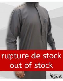 Qamis Saoudien Tissu Cashmere Wool Taupe avec manchettes