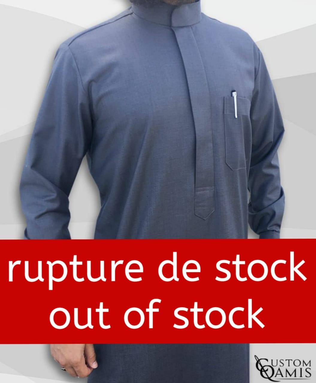 Saudi thobe Cashmere Wool bluish Grey fabric  with cuffs