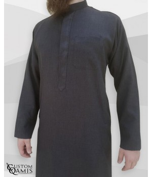 Koweti Thobe Charcoal Grey Imperial Fabric with Classic sleeves