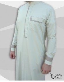 Luqman Thobe Fabric Cotton anis and light beige