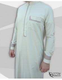 Qamis Luqman Tissu Cotton anis et beige clair