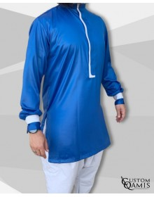 Ensemble tunique Luqman Tissu precious bleu roi et platinium gris avec serwel coupe droite