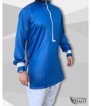 Tunic set Luqman Fabric Precious royal blue and Platinium light grey with serwel straight cut