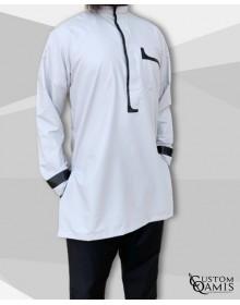 set tunic luqman fabric platinium light grey and black with serwel straight cut