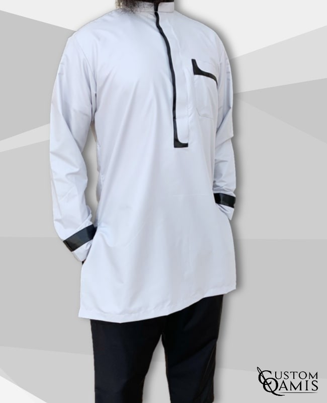set tunic luqman fabric platinium light grey and black with serwel straight cut