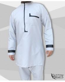 Ensemble tunique Luqman Tissu Platinium gris clair et noir avec serwel gris clair coupe droite