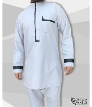 set tunic luqman fabric platinium light grey and black with serwel light grey straight cut