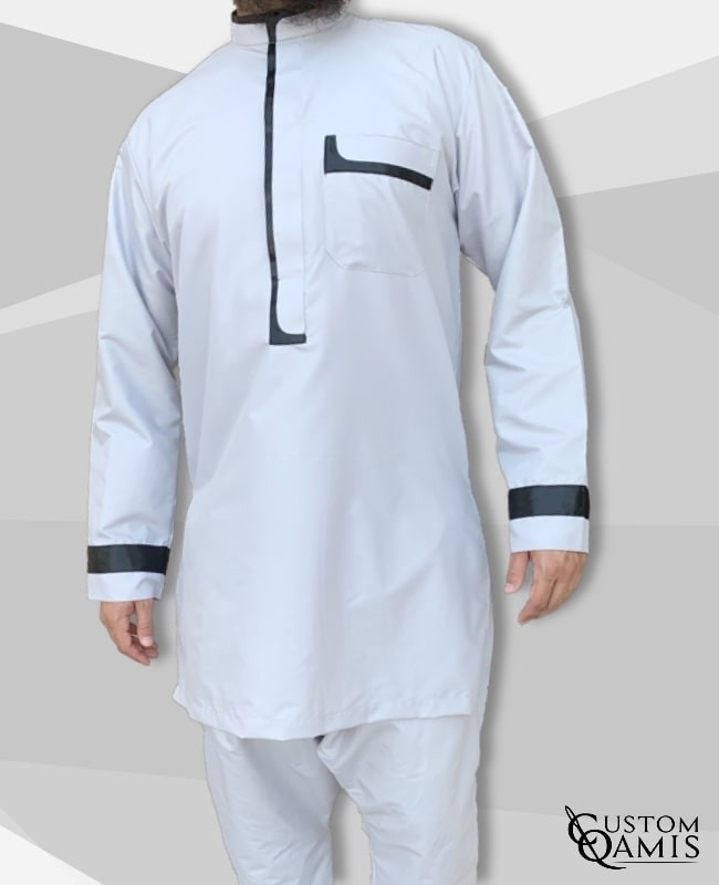set tunic luqman fabric platinium light grey and black with serwel light grey qandrissi cut
