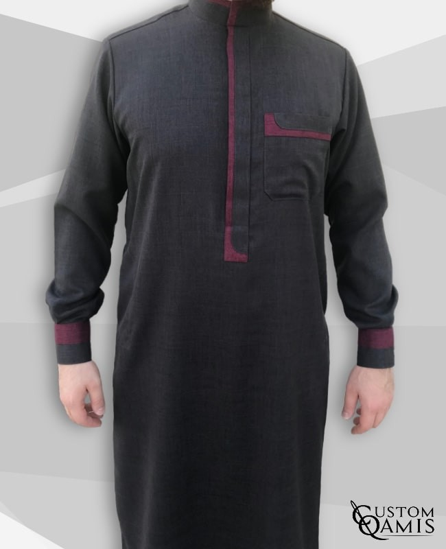 Luqman Thobe Fabric Imperial Imperial Charcoal Grey and Burgundy