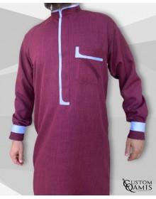 Qamis Luqman Tissu Imperial bordeaux et blanc