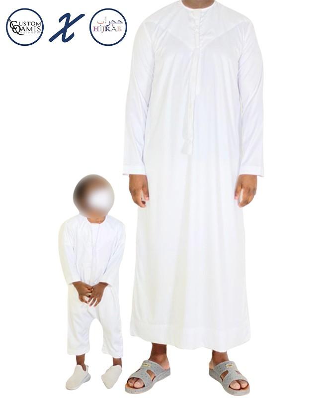 Set father / son Qamis Emirati + Qamis body Hijrab