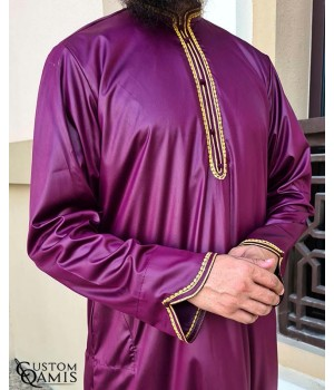 Qamis Al Masaf fabric Precious burgundy satin with embrodery gold color