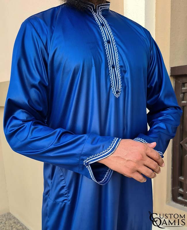 Qamis Al Masaf fabric Precious royal blue satin with embrodery white color