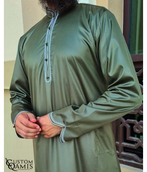 Qamis Al Masaf fabric Precious green kakhi satin with embrodery white color