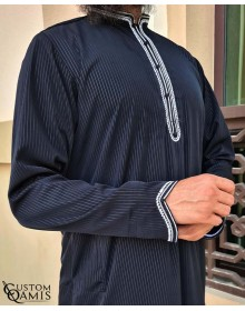 Qamis Al Masaf fabric Royal : Black Striped with embrodery white color