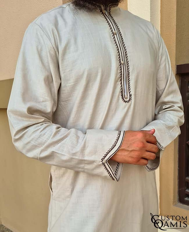 Qamis Al Masaf fabric Linen : Beige with embrodery dark brown color