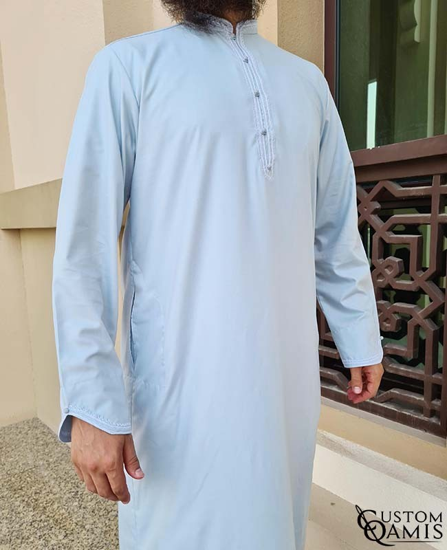 Qamis Al Masaf fabric Cotton light grey with embroidery white color