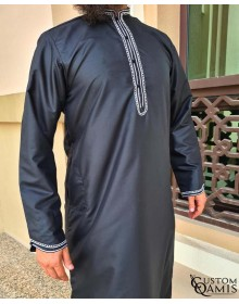 Qamis Al Masaf fabric Platinium black with embroidery white