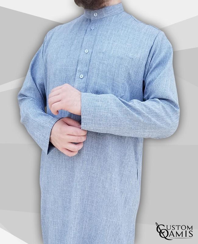 Kuwaiti Thobe sky blue Imperial Fabric