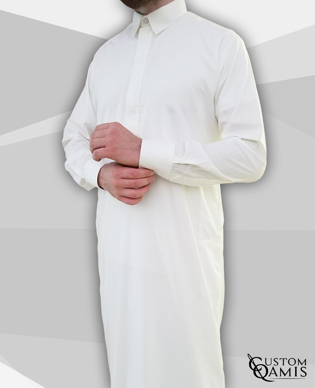 Classic Cutaway Thobe White Spring Fabric