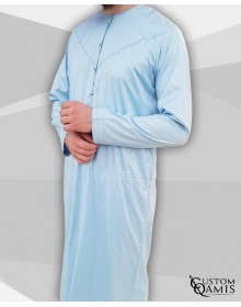 Emirati Thobe sky blue satin with pressures