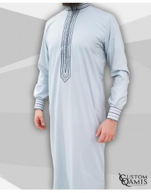 Sultan Thobe Cotton Light grey with enbroidery navy blue