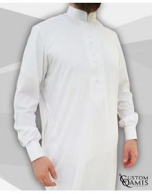 Qamis Sultan Platinum Blanc avec broderie blanche