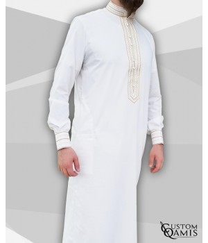 Sultan Thobe Platinum White with embroidery light brown