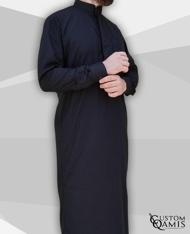 Classic Thobe black Cotton Fabric with Mao collar