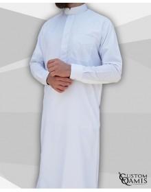 Qamis Classic Platinum blanc col mao
