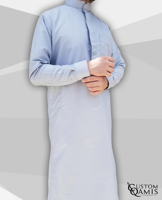 Classic Thobe Light grey Platinum Fabric with Mao collar