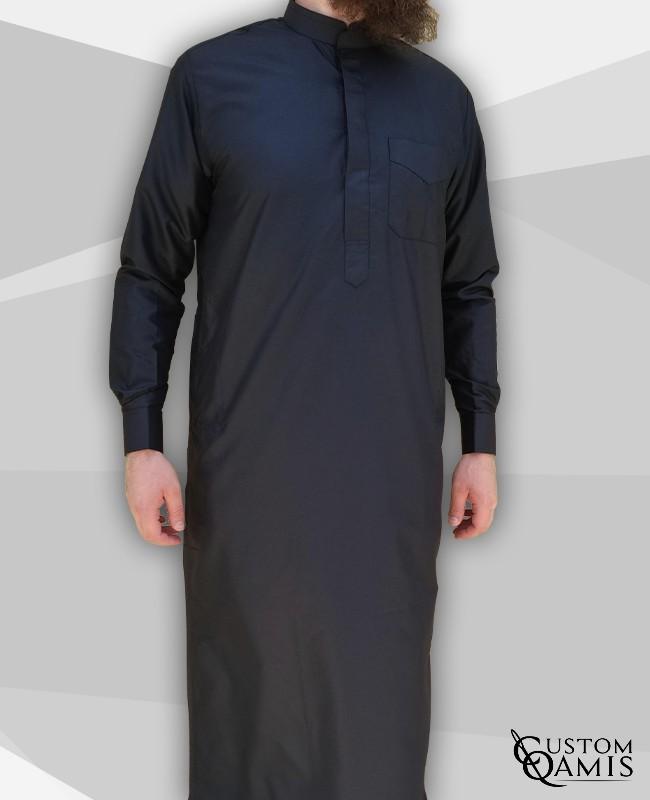 Classic Thobe Black Platinum Fabric with Mao collar