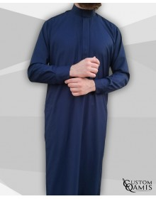 Qamis Classic Tissu Cashmere Wool bleu marine clair avec col Saoudi