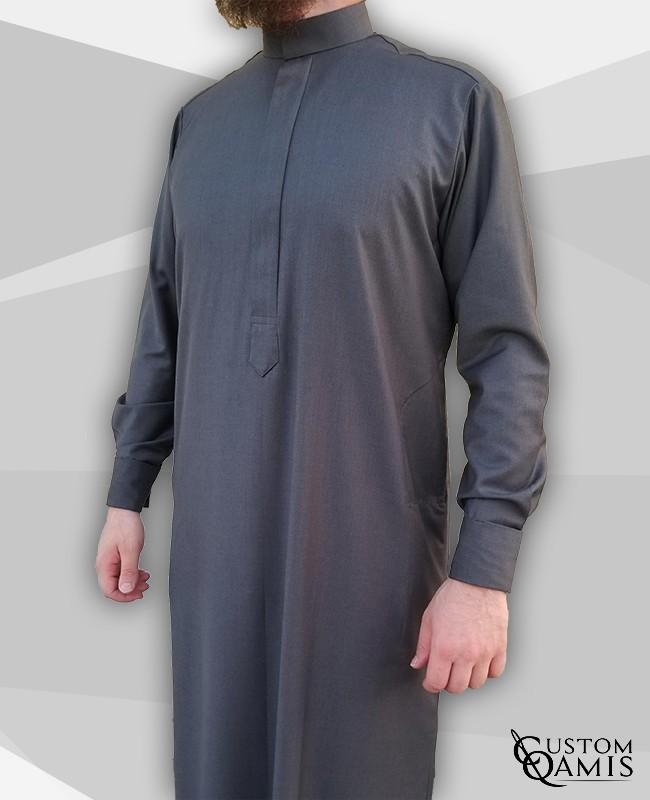 Classic Thobe Cashmere Wool grey fabric with Stretch Saudi collar