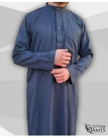 Qamis Koweiti gris bleuté clair Tissu Imperial