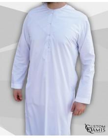 Qamis Emirati tissu Luxury blanc satiné