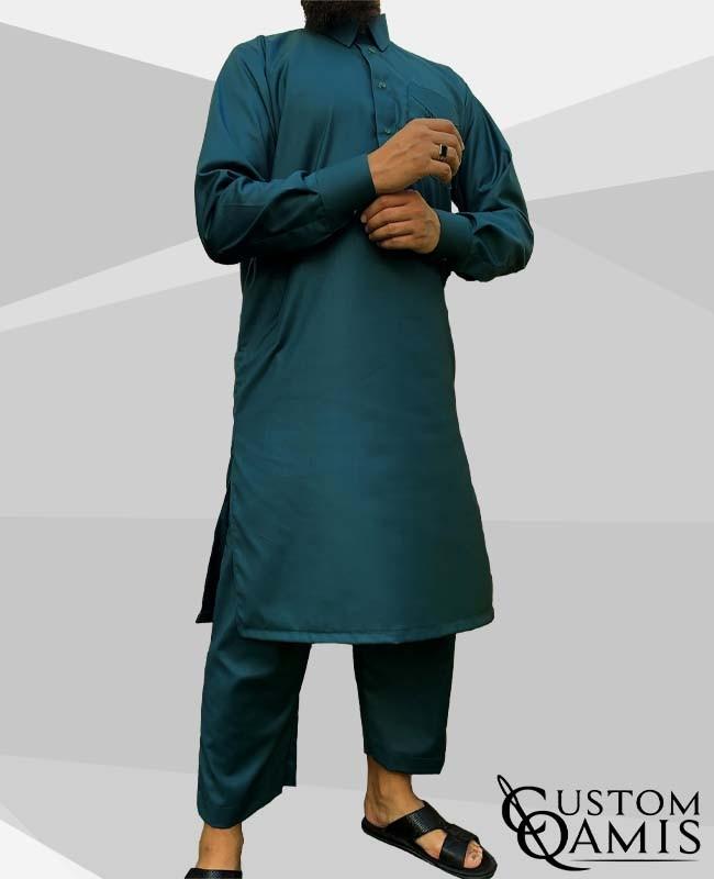Pakistani set Bluish Green (suit fabric) with Qatari collar and sarouel straight cut