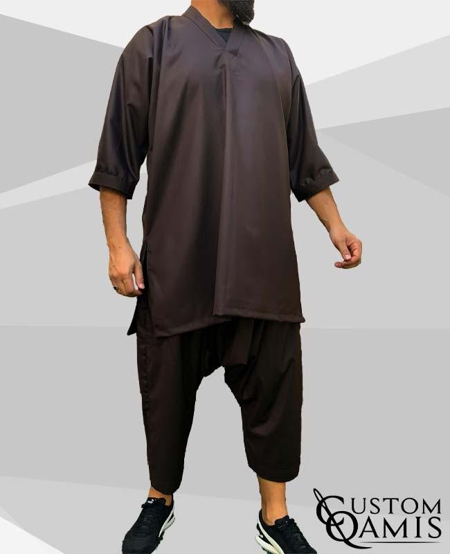 Tunic Set Gandoura Fabric Cashmere Wool : Brown (suit fabric) With Serwel Qandrissi Cut