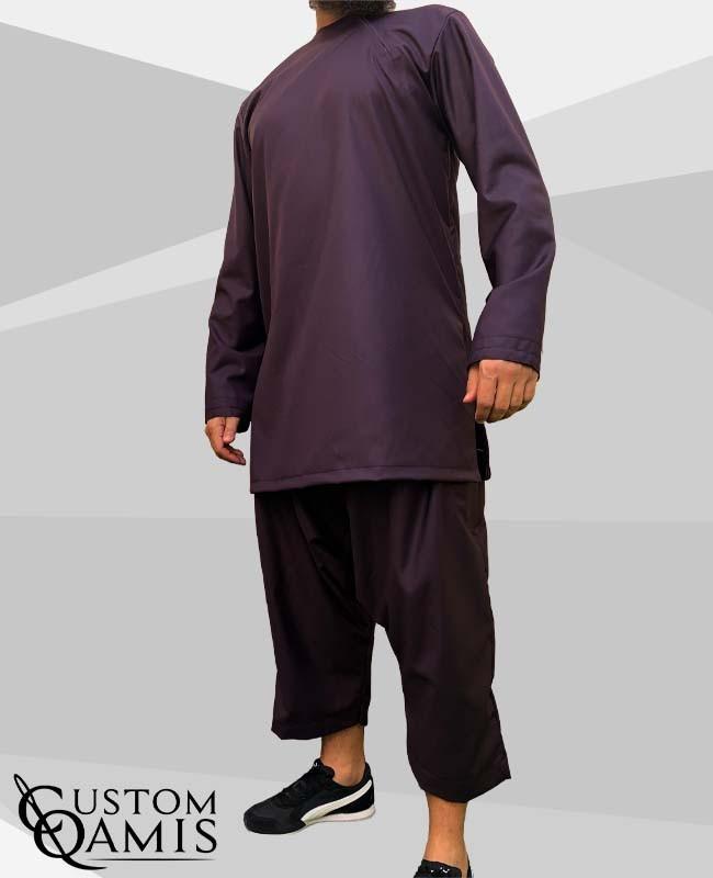Imad tunic set Cashmere Wool Dark Purple with sarouel qandrissi cut