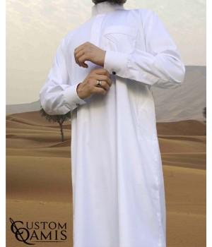 Saudi thobe Cashmere Wool : White (suit fabric) fabric  with cuffs