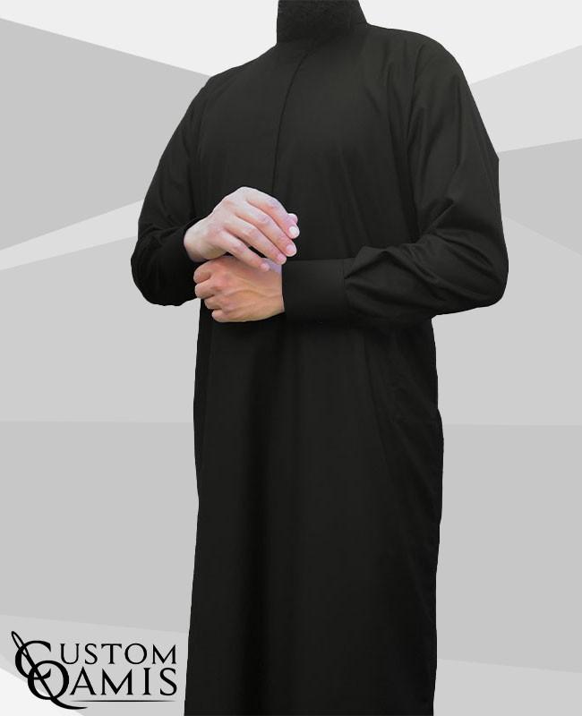 Saudi thobe Cashmere Wool : Black (suit fabric) fabric  with cuffs