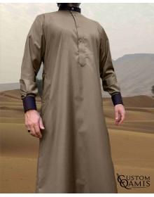 Qamis Elegance tissu Cashmere Wool beige et marron