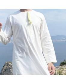 Qamis Omani tissu Linen Crème avec broderie jaune clair